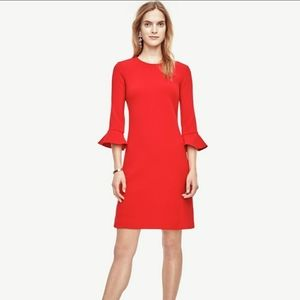 Ann Taylor Dress With Fluted Sleeves